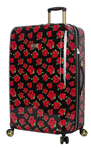 Betsey Johnson Luggage Hardside Large 30' Suitcase With Spinner Wheels (30in, Covered Roses)