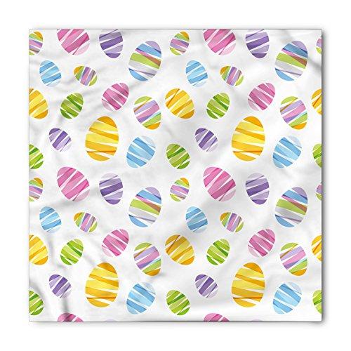 Lunarable Unisex Bandana, Easter Ornamental Striped Egg Shape, Lavender White