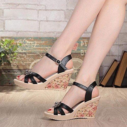 Femmes FL Flat YC With Summer Sandals Casual Down Heel High black Slope Waterproof Thick Platform 40 Leather q55UrwfAxW