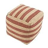 Jaipur Stripe Pattern Red/Ivory Wool Pouf, 16-Inch x 16-Inch x 16-Inch, Chutney Metal