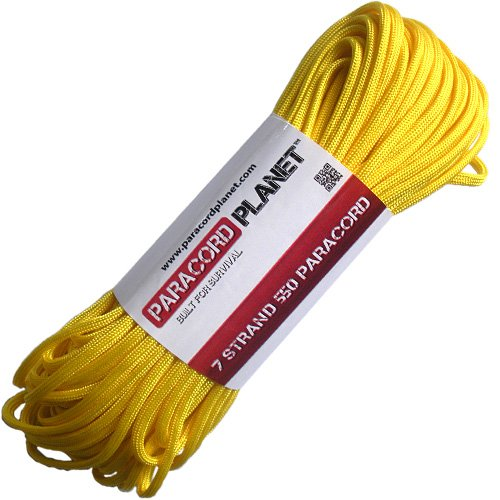 Paracord Planet® USA Made 550 Type III Paracord, 100 Feet - Now Selling Over 200 Parachute Cord Colors! (Yellow)