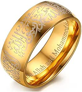 Men's Fashion Ring Yellow Gold Plated Stainless Steel with Islamic Texts size US 8