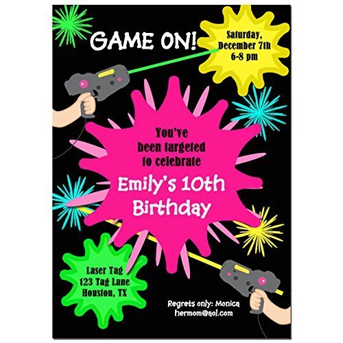 Amazon Com Laser Tag Girl Party Invitations With Any Wording