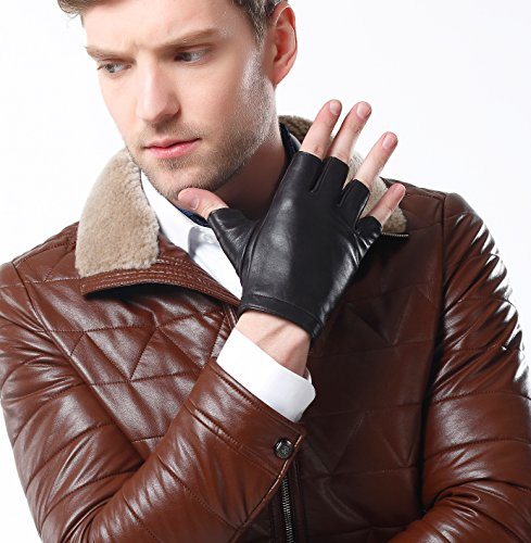 Half Finger Leather Gloves (NappaNovum Men's Classic Fingerless Gloves Italian Nappa Leather Silk Lining Half Finger Driving Cycling Outdoor Gloves (S, Brown))