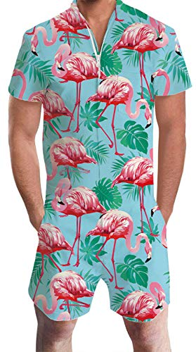 - Flamingo Jumpsuits and Rompers for Adult Men Youth Boys Summer Shorts Vintage Pantsuit Rose Red Animals Graphic Teal Blue Leaves Zip Up Baggy Tropical Clothing for Male 60 70s 80 90s Guys Male