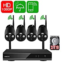 ONWOTE 1080P HD Auto-Pair Wireless WiFi IP Security Camera System with 4 Indoor/ Outdoor IR Night Vision 1080P HD 2.0 Megapixel IP Network Surveillance Cameras and 1TB Hard Drive (Built-in Router)