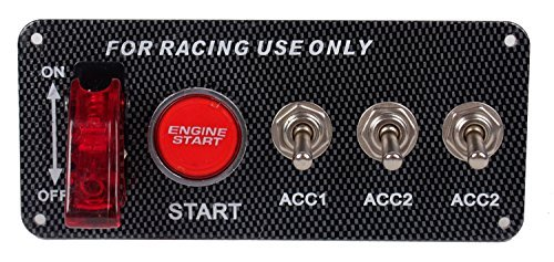 DC12V Ignition Switch Panel 5 in 1 Car Engine Start Push Button LED Toggle For Racing Car - Aircraft Audio Panel