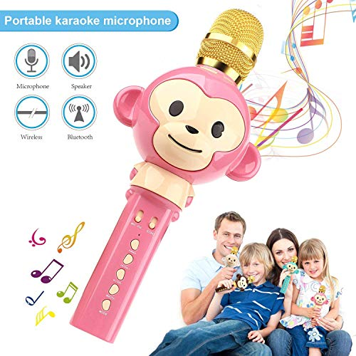 Kids Microphone Wireless Bluetooth Karaoke Microphone, 3-in-1 Portable Handheld karaoke Mic Home Party Birthday Speaker Machine for iPhone/Android/iPad/Sony,PC and All Smartphone (Pink) (Best Home Karaoke Machine Uk)