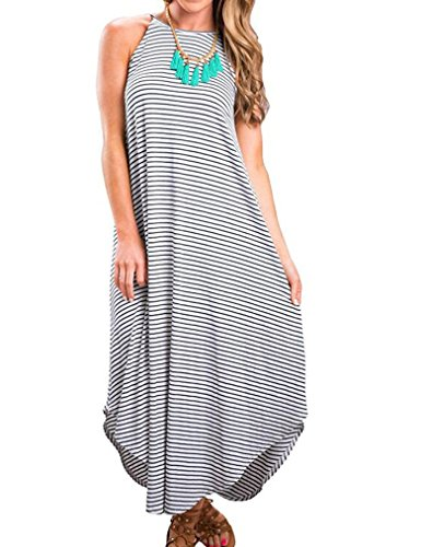 Halife Women Summer Boho Sleeveless Stripe Long Maxi Dress Beach Sundress (XL, -