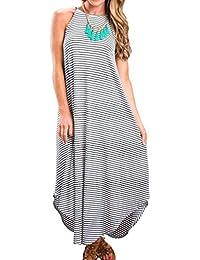 Women's Summer Casual Stripe Sleeveless Loose Beach Maxi...