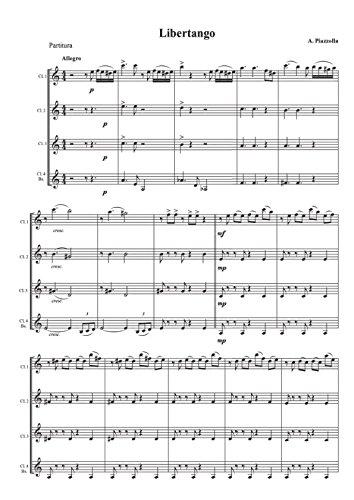 A. Piazzolla - Libertango: per 3 Clarinetti in SIb e Clarinetto Basso (Italian Edition)
