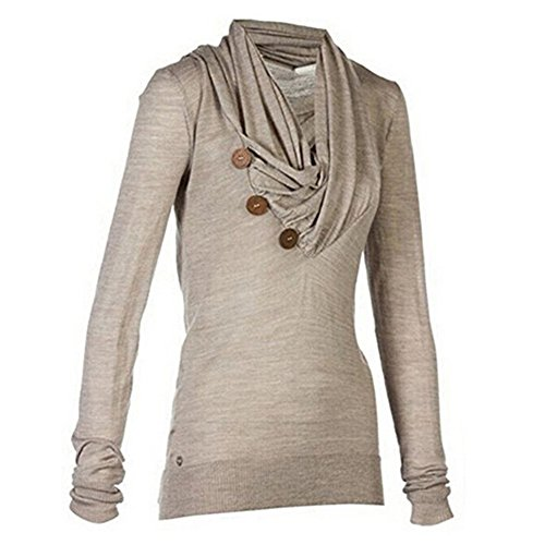 Herebuy8 Women's Long Sleeve Sport Casual Knitted Draped Button Blouse Top Shirt (XL-asia size, Khaki)