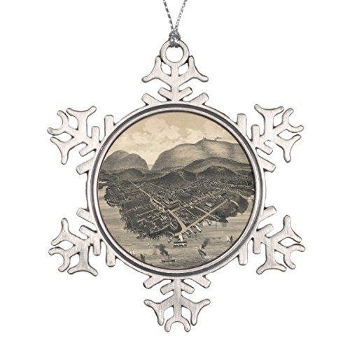 Bar Harbor Ornament (Gloria Yerkes Unique Designed Pictorial Map of Bar Harbor (1886) Snowflake Pewter Christmas Ornament)