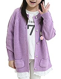 JiaYou Girls' Spring Autumn Jersey Cardigan Sweater with Pockets