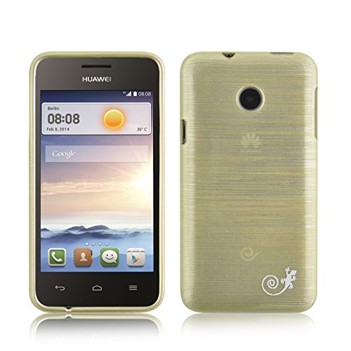 Ascend Y330 Case - Silicone Gel Back Cover for Huawei Ascend Y330, Gold (Back Huawei Case Y330)