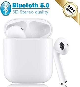 Bluetooth 5.0 Auriculares Inalambricos Cascos Deportivos Estéreo con Mic y Cancelación de Ruido Caja de Carga: Amazon.es: Electrónica
