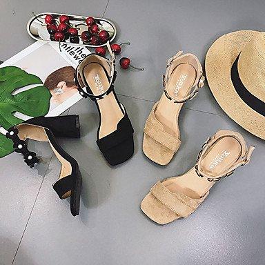 LvYuan Mujer Sandalias Confort Goma Verano Paseo Confort Hebilla Talón de bloque Negro Caqui Menos de 2'5 cms Khaki