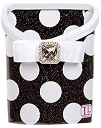Locker Bin - Glitter Black and White Polka Dot
