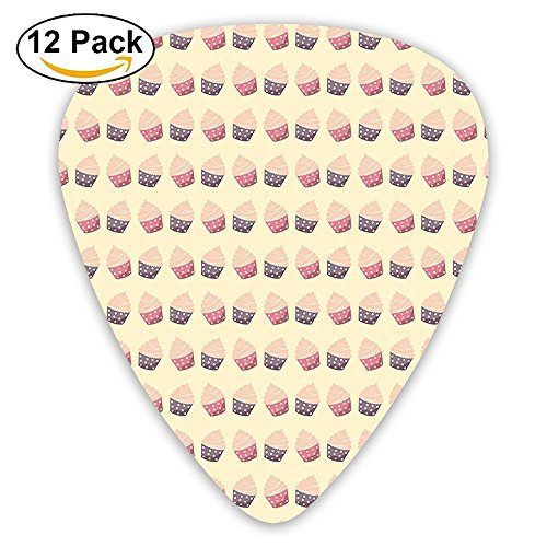 (Newfood Ss Cupcakes With Dots In Soft Colors Romantic Sweet Pastries Repetitive Guitar Picks 12/Pack Set)