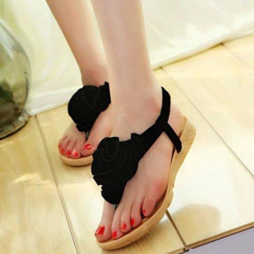 681d9bf94b419 Dodumi Fleur Clip De Dames Marron Mules Talon Noires Chaussures Nior  Compensées Toe A Sandals Bohemia Femme Plage D'été Sandales Femmes ...