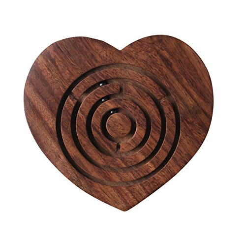 storeindya Wooden Labyrinth Maze Puzzle Board Toys and Games Easy to Learn and Play with 3 Metal Balls Rosewood for Kids Adults (Heart)