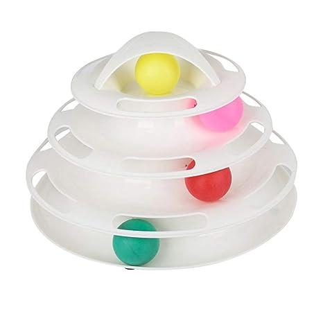 POPETPOP Juguetes interactivos para Gatos Juguete Giratorio de plástico de 4 Capas Tornillo Inteligente Balancín de