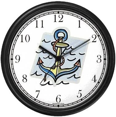 Ship s Anchor No.2 Nautical Theme Wall Clock by WatchBuddy Timepieces Hunter Green Frame