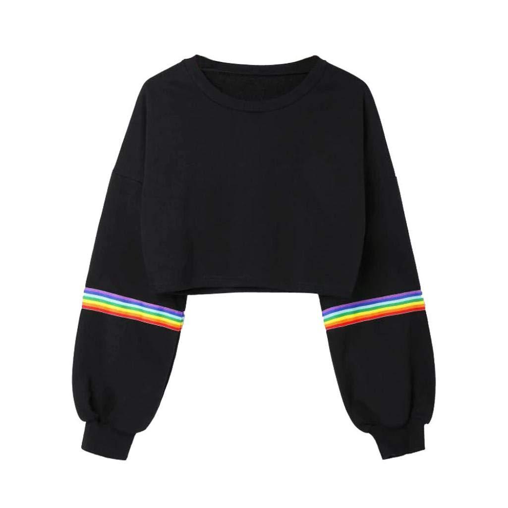 HARRYSTORE Womens Balloon Sleeve Striped Crop Top Short Sweatshirt Jumper Black Crew Neck Pullover Top