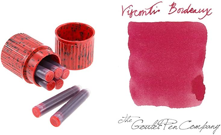 Visconti Ink Cartridges in bakelite container 7 pieces Red