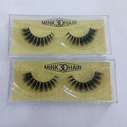 [False Eyelashes 3D Mink Fur Fake Eyelashes Cross Style 2 Pair Eye Lash Beauty Box] (Wild Curl Black Wig)