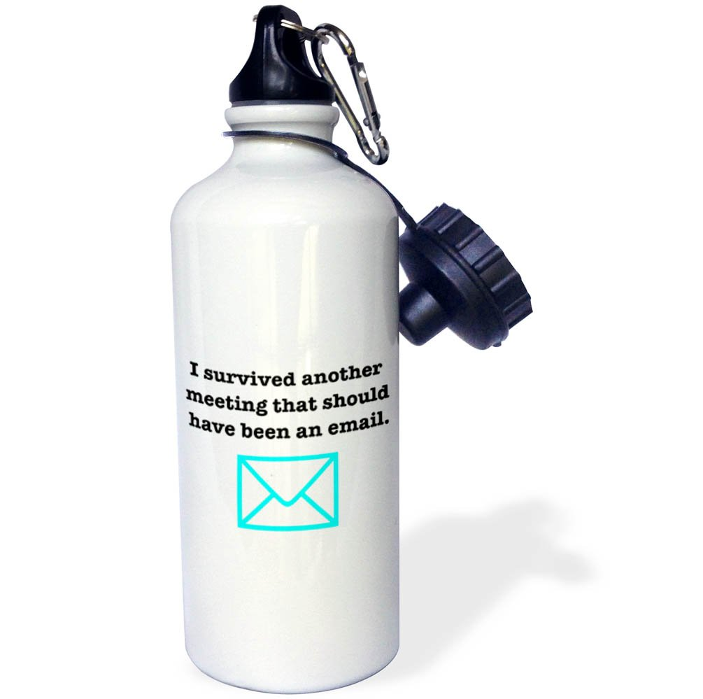 21 oz Sports Water Bottle I Survived Another Meeting Turquoise 3dRose Office Humor wb/_261155/_1