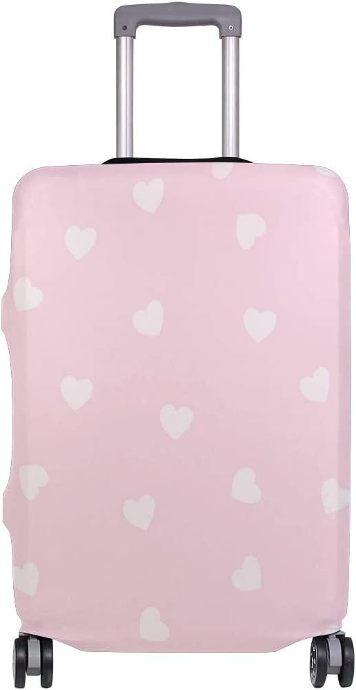 Travel Luggage Cover Light Pink Love Heart Pattern Suitcase Protector