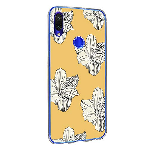 Case Compatible Xiaomi Redmi Note 7 Pro Cover Case Thin TPU Silicone Clear Shell with Flower Design for Girls Shockproof Bumper Protective Back Cover Xiaomi Redmi Note 7 (3, Xiaomi Redmi Note 7 Pro)