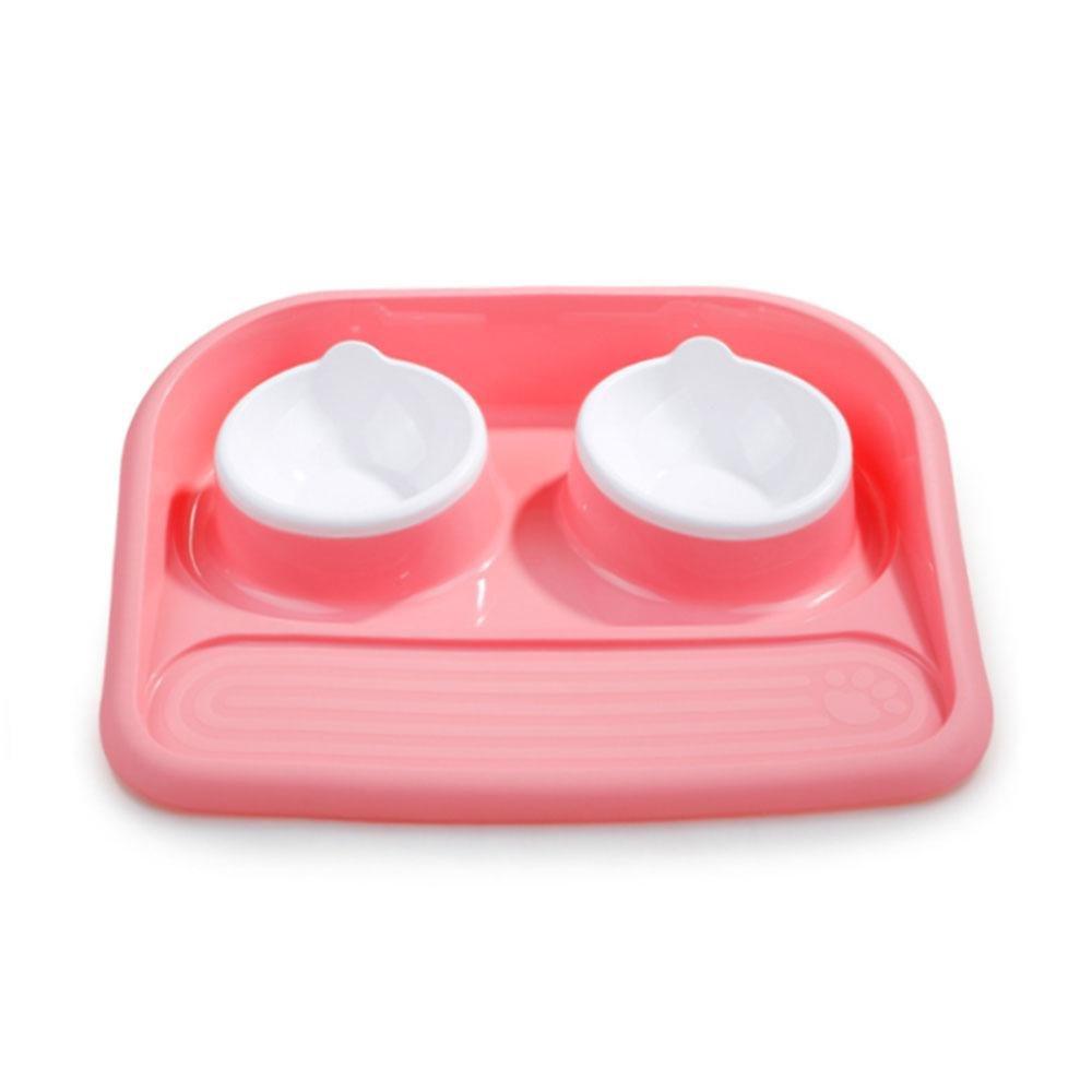 Aolvo double Dog Food Bowl n. goccie non sbiadiscono per la pappa, con materasso in plastica PET Bowl adatto per piccole e medie cani, gatti–resistente e durevole