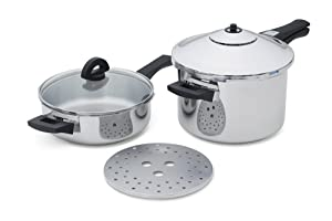 Kuhn Rikon Duromatic Stainless-Steel Pressure Cooker 2pc Set: 2Qt Fry Pan & 5-Qt Saucepan