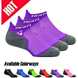Thirty 48 Ultralight Athletic Running Socks for Men and Women with Seamless Toe, Moisture Wicking, Cushion Padding (Large - Women 9-10.5 // Men 10-11.5, [3 Pairs] Purple/Gray)