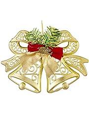 قطعة ديكور مفرغة شكل جرس بفيونكة للكريسماس