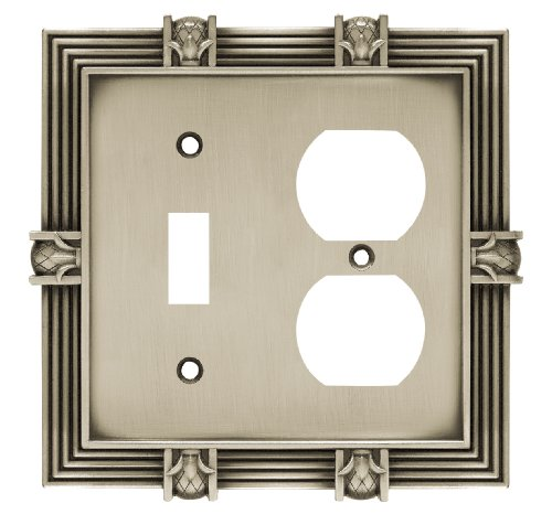 Franklin Brass 64465 Pineapple Single Toggle Switch/Duplex Outlet Wall Plate/Switch Plate/Cover, Brushed Satin Pewter