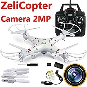 ZeliCopters RC Quadcopter with 2MP Video Camera,4 Ch 2.4ghz 6-gyro, Remote Control Drone Equipted with Headless System Drones Quadcopters from ZeliCopters