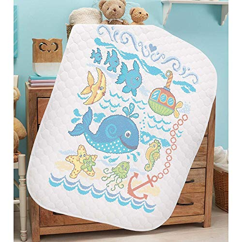 Herrschners® Pre-Quilted Seaside Friends Baby Quilt Stamped Cross-Stitch - Pre Quilted Quilt Baby