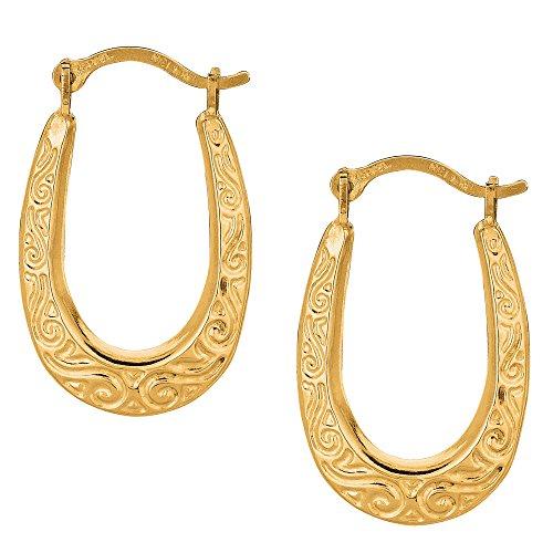 Gold Design Oval (10k Yellow Gold Shiny Swirl Design Oval Hoop Earrings, Diameter 20mm)
