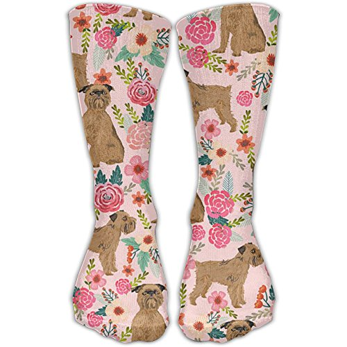 Brussels Griffon Costumes - Brussels Griffon Dog Floral Ankle Socks Crew Socks Casual Socks Non Slip Flat Boat Line