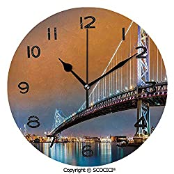 SCOCICI 10 Inch Round Face Silent Wall Clock Ben Franklin Bridge and Philadelphia Skyline Viewed from Camden Across The Delaware River Decorative Unique Contemporary Home and Office Decor
