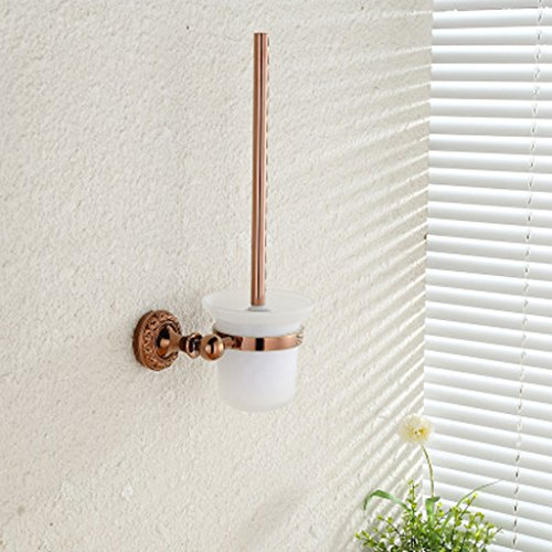 Toilet Brush and Bracket Rose Gold Antique Toilet Cup Holder Wall Hanging Cleaning Tool Bathroom Hardware Accessories