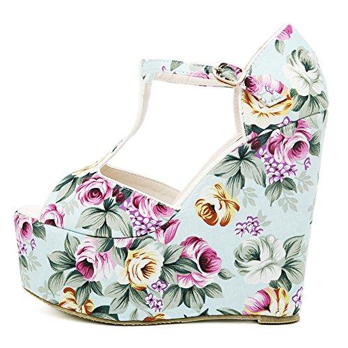 2016 Primavera Nuove Donne Moda Stampa Chinoiserie Peep Toe Zeppe Piattaforma Sandalo Azzurro