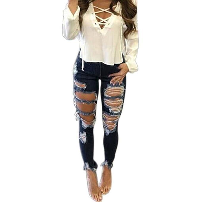 Koly Mujer Cintura Alta Delgado Fit Flaco Pantalones ...