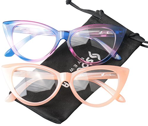 5b3211cbfd3c7 SOOLALA Ladies 50mm Lens Designer Cat Eye Reading Glasses Customized  Strengths