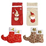 Tableware Holder,Justdolife 4Pcs Knives Forks Bags Set Decorative Christmas Cutlery Bags Silverware Pockets with 2 Christmas Wine Bags