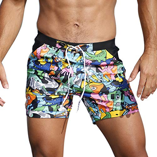 Taddlee Men Swimwear Swimsuits Flower Print Surf Board Boxer Shorts Trunks Long (S,XF90) ()