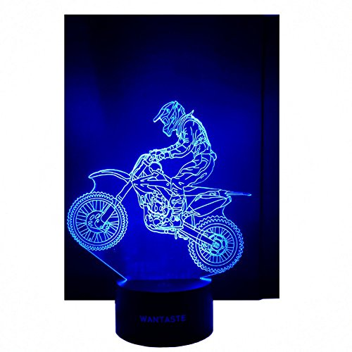 WANTASTE 3D Motocross Lamp, Optical Illusion Night Light for Room Decor & Nursery, Cool Birthday Gifts & 7 Color Changing Toys with Battery Backup for Kids, Boys, Father & Sports Guy by WANTASTE